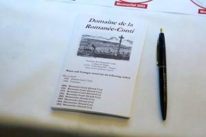 Carnet de dégustation Domaine de la Romanée Conti - Villa d'Este Wine Symposium